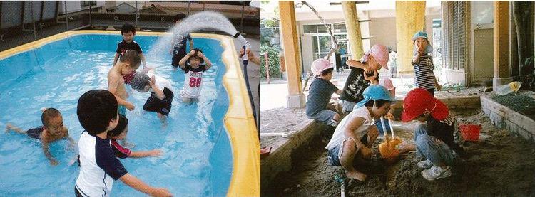プールを楽しむ園児たちと砂遊びを楽しむ園児の風景
